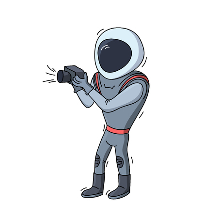 Vector illustration of photographer astronaut with camera. Planet exploration and achievement concept flyer, card. Doodle cartoon outline space symbol.