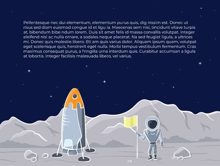 Vector illustration of space ship, flag and astronaut on red planet. Planet exploration concept flyer with text place. Doodle cartoon outline space symbols. 일러스트