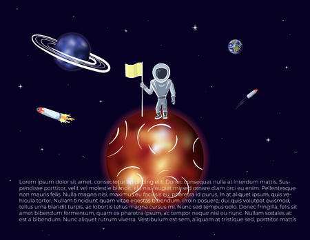 Vector illustration of astronaut with flag on red planet. Planet exploration and achievement concept flyer with text place. Doodle cartoon outline space symbols.