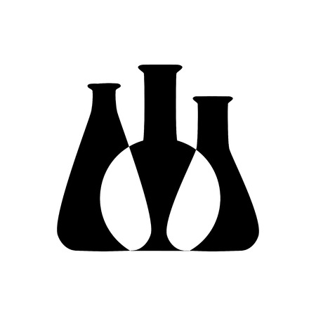 Vector illustration of chemical lab test tube icon. Micro biology laboratory flask symbol. Scientist laboratory equipment isolated.