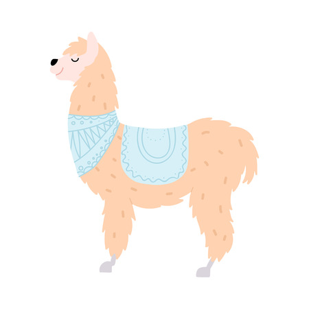 Vector illustration of cute character south llama. Isolated outline cartoon baby lama. Hand drawn Peru animal guanaco, alpaca, vicuna. Drawing for print, fabric, textile, poster etc.