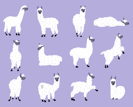 Vector set of characters. Illustration of south America cute lama. Isolated outline cartoon baby llama. Hand drawn Peru animal guanaco, alpaca, vicuna. Drawing for print, fabric, textile etc.