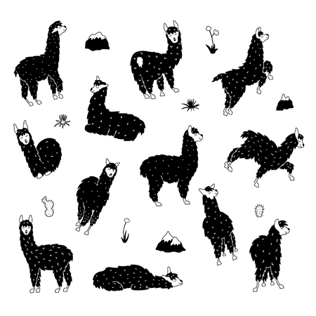 Vector set of characters. Illustration of south America cute llama. Isolated outline cartoon baby llama. Hand drawn Peru animal guanaco, alpaca, vicuna. Drawing for print, fabric, textile etc.