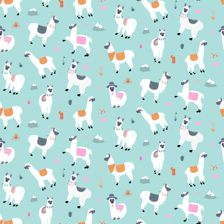 Vector seamless pattern with south America cute llama with decorations. Isolated outline cartoon baby llama. Hand drawn Peru animal guanaco, alpaca, vicuna. Drawing for print, fabric Standard-Bild - 102466987