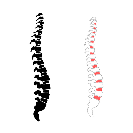 Vector human spine isolated silhouette illustration. Spine pain medical center, clinic, institute, rehabilitation, diagnostic, surgery icon element. Spinal icon symbol design. Concept of scoliosis