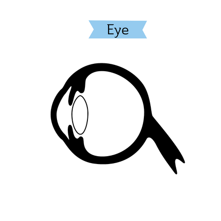 Vector isolated illustration of eye anatomy. Human ocular system icon. Healthcare medical center, surgery, hospital, clinic, diagnostic . Internal donor organ symbol poster design. Donation Illustration