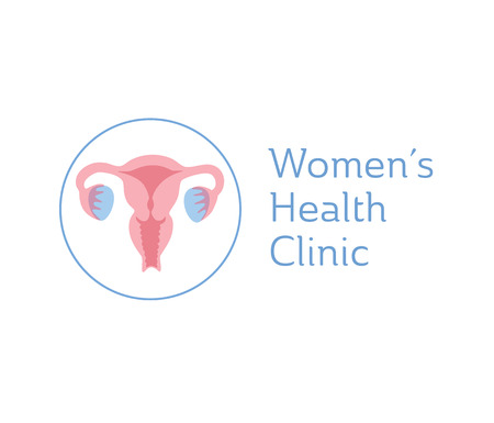 Vector isolated illustration of female reproductive system anatomy. Uterus, cervix, ovary, fallopian tube icon. Brand design template for woman medical center, hospital, clinic, diagnostic logo. Illustration