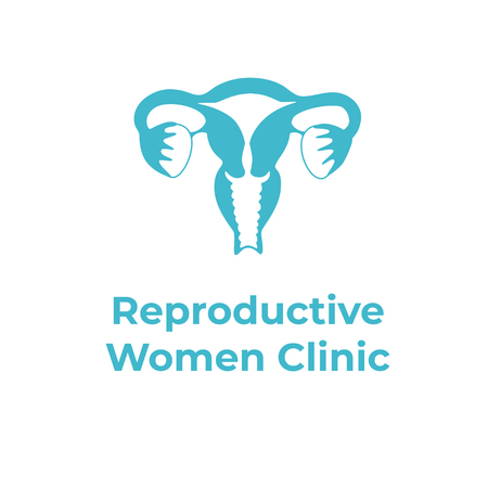 Vektor isolierte Darstellung der Anatomie des weiblichen Fortpflanzungssystems. Gebärmutter, Gebärmutterhals, Eierstock, Eileiter-Symbol. Markendesignvorlage für Frauenklinik, Krankenhaus, Klinik, diagnostisches Logo.