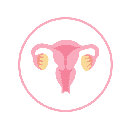 Vector isolated illustration of female reproductive system anatomy. Uterus, cervix, ovary, fallopian tube icon. Brand design template for woman medical center, hospital, clinic, diagnostic logo. Logo