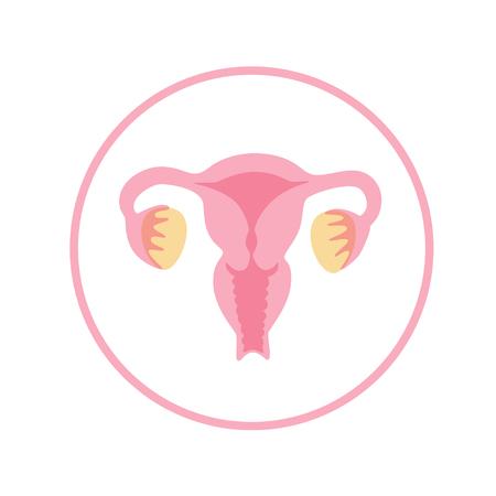 Vektor isolierte Darstellung der Anatomie des weiblichen Fortpflanzungssystems. Gebärmutter, Gebärmutterhals, Eierstock, Eileiter-Symbol. Markendesignvorlage für Frauenklinik, Krankenhaus, Klinik, diagnostisches Logo. Logo