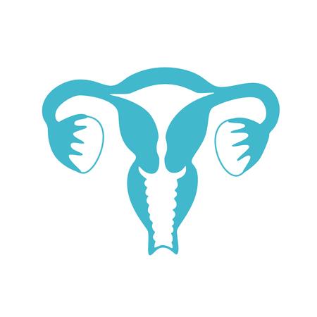 Vector ilustración aislada de la anatomía del sistema reproductor femenino. Útero, cuello uterino, ovario, icono de las trompas de Falopio. Mujer centro médico, hospital, clínica, logotipo de diagnóstico. Diseño de símbolo de órgano interno.