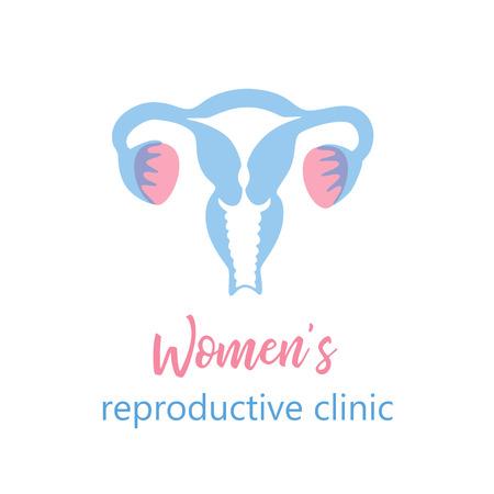 Illustration vectorielle isolée de l'anatomie du système reproducteur féminin. Utérus, col de l'utérus, ovaire, icône des trompes de Fallope. Modèle de conception de marque pour centre médical féminin, hôpital, clinique, logo de diagnostic.