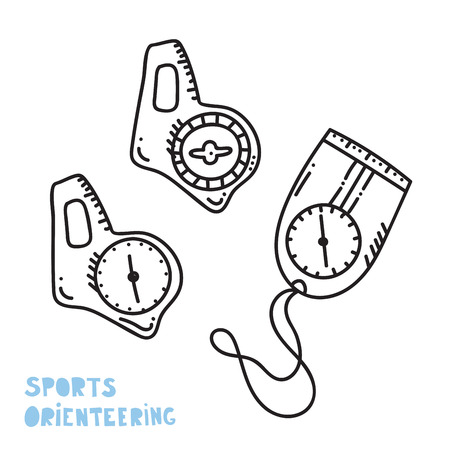 Vector illustration of orienteering compass. Orientation, navigation isolated object.
