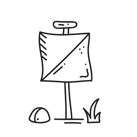 Vector illustration of orienteering icon. isolated elements:  contol point. Orientation, navigation equipment.