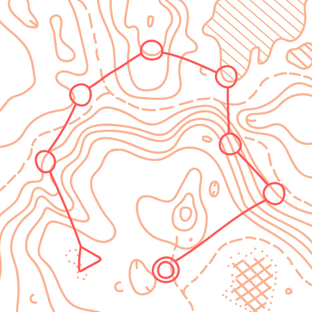 Vector illustration of topographic orienteering map with with distance marked on it. topo symbols and landmark objects. Orientation, topography, navigation banner template.
