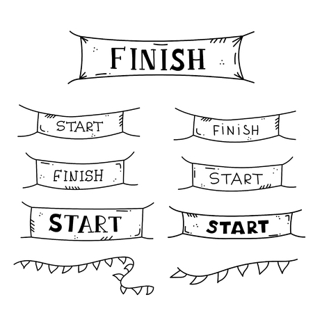 Vector illustration of start and finish line banners, streamers, flags for outdoor sport event - competition race, run marathon. Isolated doodle cartoon illustration.