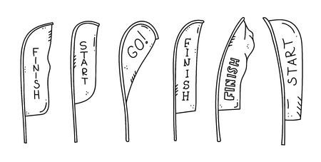 Illustrazione vettoriale di striscioni di inizio e fine linea, stelle filanti, bandiere per eventi sportivi all'aperto - gara di competizione, maratona di corsa. Illustrazione isolata del fumetto di scarabocchio. Vettoriali