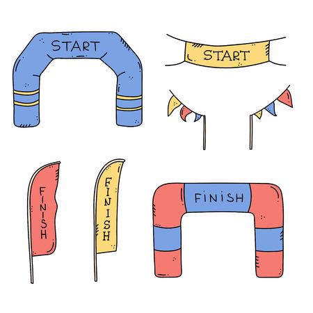 Vektorgrafik von Start- und Ziellinienbannern, Luftschlangen, aufblasbarem Ballonbogentor, Flaggen für Sportveranstaltungen im Freien - Wettkampfrennen, Marathonlauf. Isolierte Doodle-Cartoon-Illustration. Vektorgrafik
