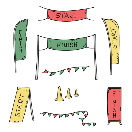 Vector illustration of start and finish line banners, streamers, flags for outdoor sport event - competition race, run marathon. Isolated doodle cartoon illustration. 일러스트