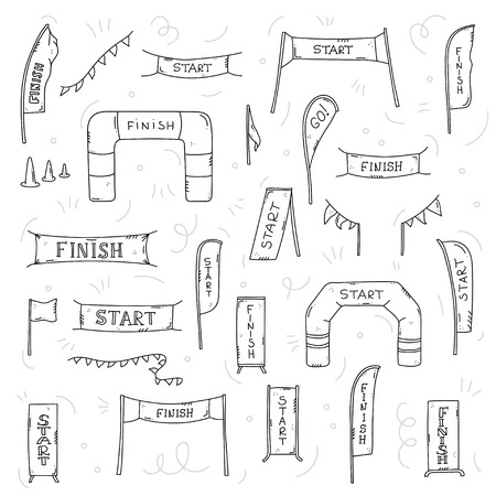 Vector illustration of start and finish line banners, streamers, inflatable balloon arch gate, flags for outdoor sport event - competition race, run marathon. Isolated doodle cartoon illustration.