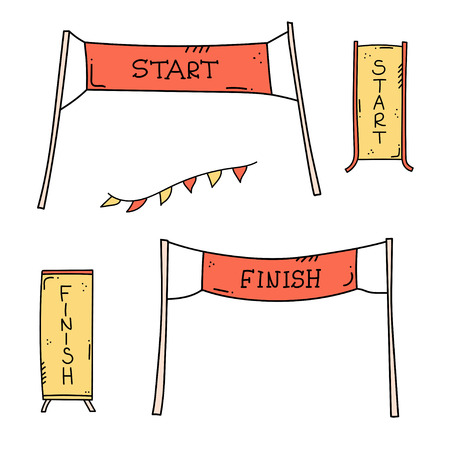 Vector illustration of start and finish line banners, streamers, flags for outdoor sport event - competition race, run marathon. Isolated doodle cartoon illustration. 矢量图像