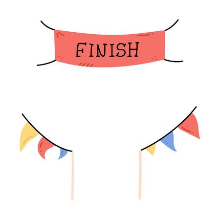 Illustration vectorielle de bannières de ligne de départ et d'arrivée, banderoles, drapeaux pour événement sportif en plein air - course de compétition, marathon. Illustration de dessin animé isolé doodle.