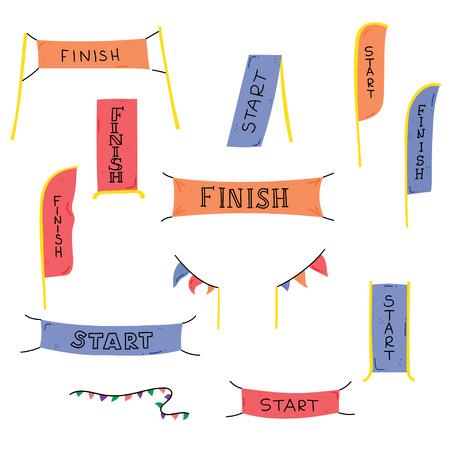 Ilustracja wektorowa banerów linii startu i mety, serpentyn, flag na imprezę sportową na świeżym powietrzu - wyścig konkurencji, biegnij maraton. Ilustracja kreskówka na białym tle zbiory. Ilustracje wektorowe