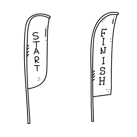 Vector illustration of start and finish line banners, streamers, flags for outdoor sport event - competition race, run marathon. Isolated doodle cartoon illustration. Vector Illustration