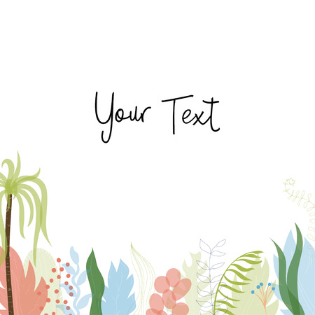 Vector illustration of floral greeting card template design with place for your text. Jungle plant hand drawn frame. Modern wedding Invitation. Tropical colorful flowers and leaves wreath border.