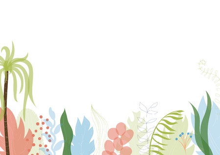 Vector illustration of floral greeting card template design with place for your text. Jungle plant hand drawn frame. Modern wedding Invitation. Tropical colorful flowers and leaves wreath border. Foto de archivo - 127119845