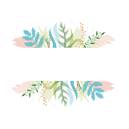 Vector illustration of floral greeting card template design with place for your text. Jungle plant hand drawn frame. Modern wedding Invitation. Tropical colorful flowers and leaves wreath border. Foto de archivo - 127119847