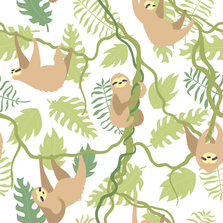 Vector seamless pattern illustration of cute character sloth with jungle leaves. Isolated cartoon baby climbing sloths. Hand drawn animal hanging on a branch. Drawing for print, textile, poster etc. Ilustração