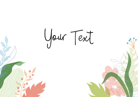 Vector illustration of floral greeting card template design with place for your text. Jungle plant hand drawn frame. Modern wedding Invitation. Tropical colorful flowers and leaves wreath border. Foto de archivo - 127089075