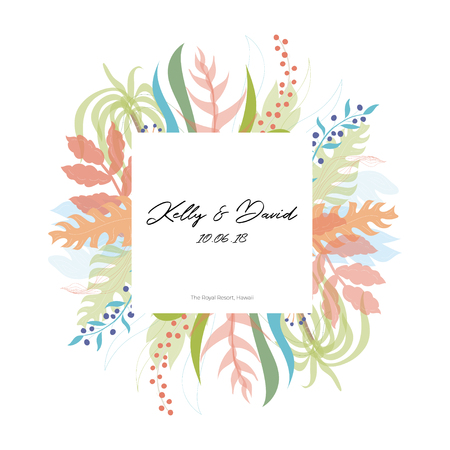 Vector illustration of floral greeting card template design with place for your text. Jungle plant hand drawn frame. Modern wedding Invitation. Tropical colorful flowers and leaves wreath border. Foto de archivo - 126765189