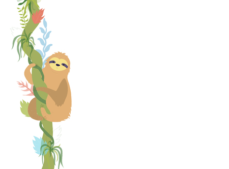Vector illustration of cute character sloth. Isolated cartoon baby climbing sloths. Hand drawn jungle animal hanging on a branch of tree. Drawing for print, fabric, textile, poster etc.
