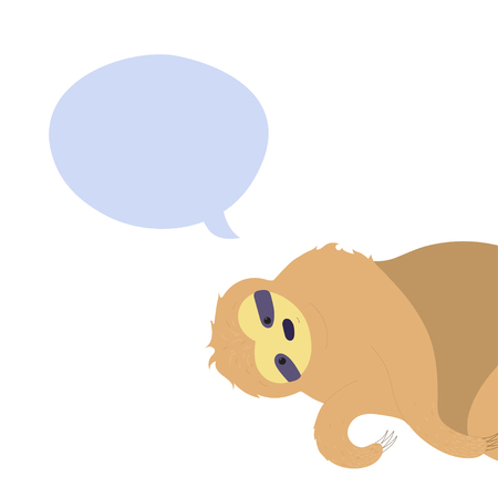 Vector illustration of cute character sloth with speech bubble. Isolated cartoon baby climbing sloths. Hand drawn jungle animal hanging on a branch of tree. Drawing for print, fabric, poster etc.