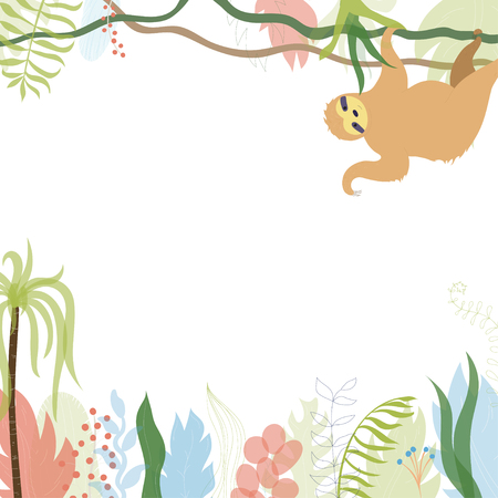 Vector illustration of floral greeting card template design with place for your text and sloth. Jungle plant hand drawn frame. Tropical colorful flowers and leaves wreath border. Foto de archivo - 125974370