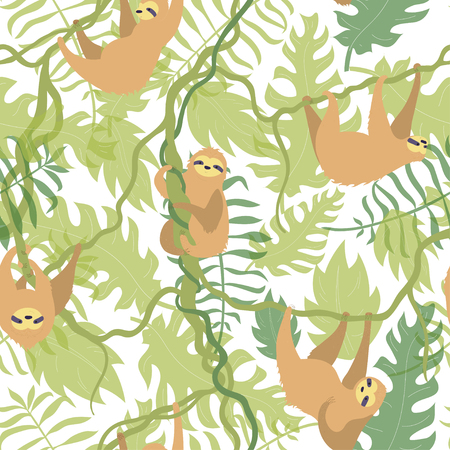 Vector seamless pattern illustration of cute character sloth with jungle leaves. Isolated cartoon baby climbing sloths. Hand drawn animal hanging on a branch. Drawing for print, textile, poster etc. Иллюстрация