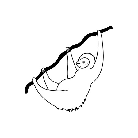 Vector isolated outline black illustration of cute character sloth. Cartoon baby climbing sloths. Hand drawn jungle animal hanging on a branch of tree. Drawing for print, fabric, poster etc.