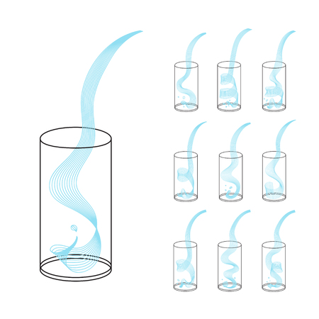 Vector water splash pour in glass set. Vector isolated transparent illustration. Healthy vitamin drink, breakfast, diet and nutrition.