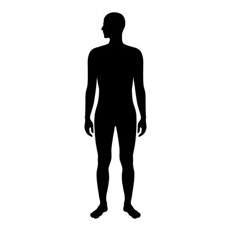 Vector ilustración aislada de silueta de hombre. Ilustración negra aislada