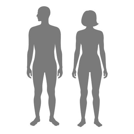 Illustration vectorielle isolée de la silhouette humaine, femme et homme. Illustration noire isolée