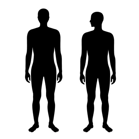 Vector isolated illustration of naked human, woman and man silhouette. Isolated black illustration Archivio Fotografico - 121912080
