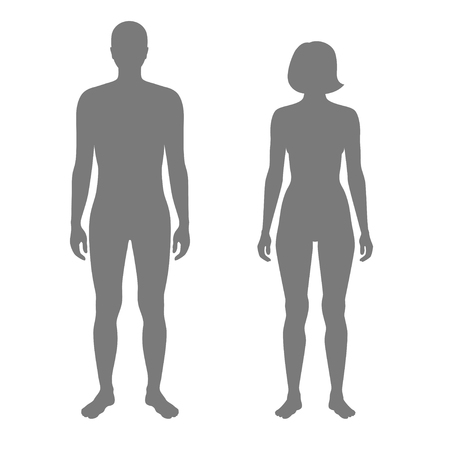 Vector isolated illustration of human, woman and man silhouette. Isolated black illustration