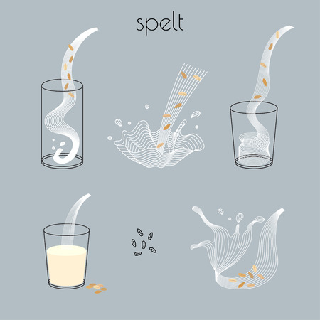 Vector glass of spelt milk with nuts. Vegan alternative organic milk splash pour in glass. Non dairy drink. Isolated transparent illustration. Healthy food, diet and nutrition concept