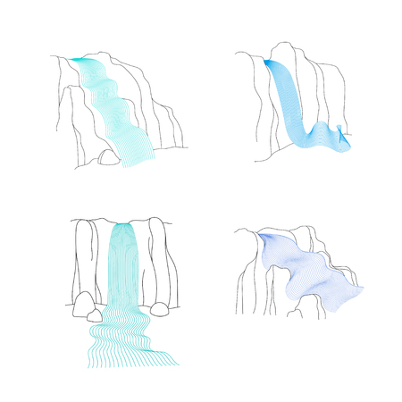 Vector set of illustration of waterfall cascade. Water stream falling of various shape of mountain rock. Isolated outline hand drawn object. Logo, design element. Logo