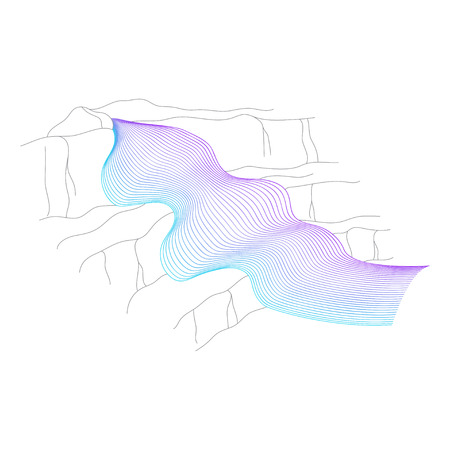 Vector illustration of waterfall cascade. Water stream falling of various shape of mountain rock. Isolated outline hand drawn object. Logo, design element.