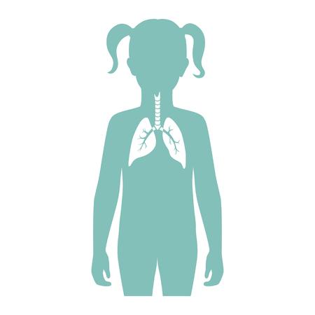 Illustrazione vettoriale isolato di anatomia polmonare nel corpo della ragazza. Icona del sistema respiratorio umano. Centro medico sanitario, ospedale, logo della clinica. Disegno del manifesto del simbolo dell'organo del donatore del bambino interno. donazione