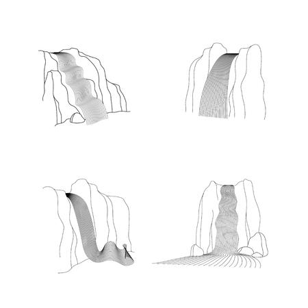 Conjunto de vector de ilustración de cascada cascada. Corriente de agua cayendo de varias formas de roca de montaña. Objeto dibujado a mano de contorno aislado. Logotipo, elemento de diseño. Logos