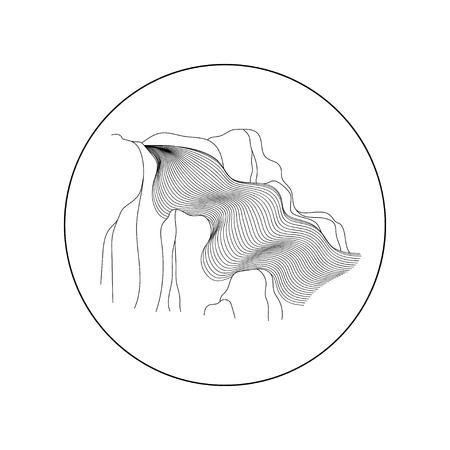 Vector illustration of waterfall cascade. Water stream falling of various shape of mountain rock. Isolated outline hand drawn object. Logo, design element. Vectores